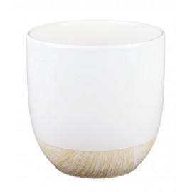 Osłonka biała -spód imitujący drewno Ø 12 cm