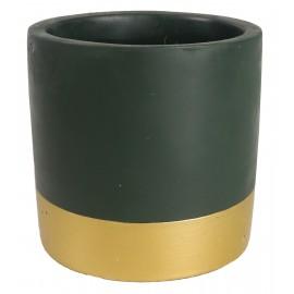 Osłonka betonowa ciemnozielona ze złotym pasem Ø 9 cm