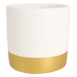 Osłonka betonowa Ø 9 cm biała ze złotym pasem