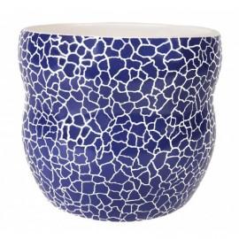 Osłonka ceramiczna Ø 12 cm granatowa mozaika