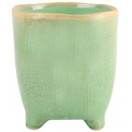 Osłonka Ø 10 cm zielona Figaro na nóżkach 2599U