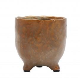 Osłonka ceramiczna Ø 8 cm MIEDZIANA na nóżkach 218956