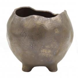 Osłonka ceramiczna Ø 10 cm kulista BRĄZ na nóżkach 201560