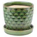 Doniczka ceramiczna z podstawką -zielona łuska 45.007.12 Ø 10 cm
