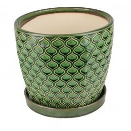 Doniczka ceramiczna z podstawką -zielona łuska 45.007.17 Ø 15 cm